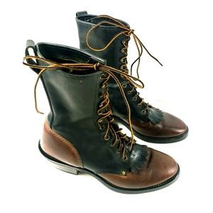 Tall Black & Brown Leather Packer Style Boots 9.5D